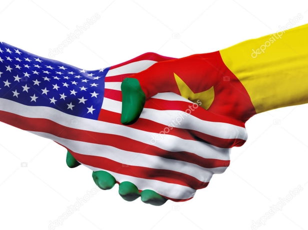 Flags United States and Cameroon countries, partnership handshake.
